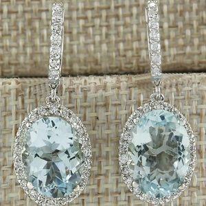 CLASSY aquamarine Cz diamond earrings